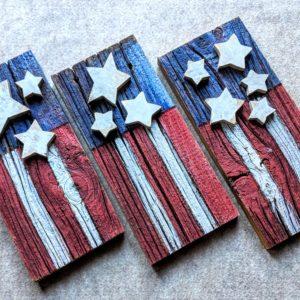 Barnwood American Flags