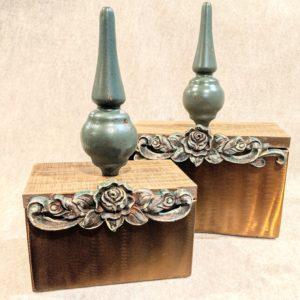 Vintage Bed Post Spindle Topped Copper Box  2 pc. Set