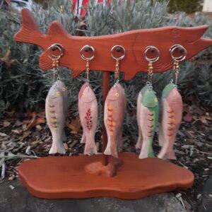 Hand Carved Folk Art Fishy Key Chain