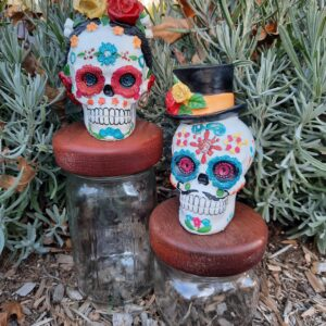 Sugar Skull Mason Jar Canisters